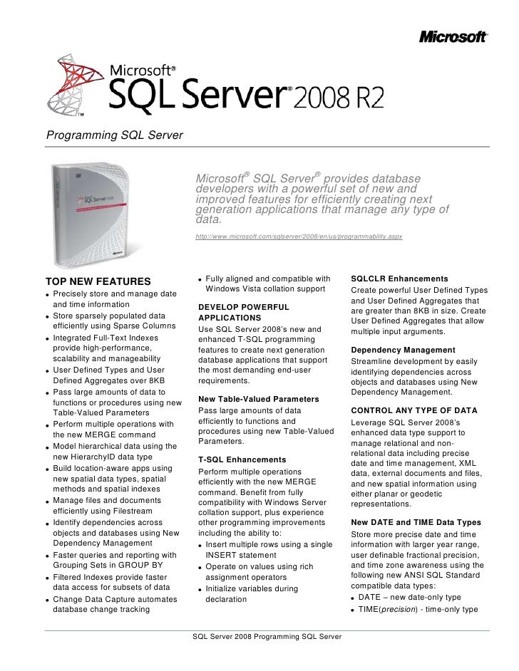 Microsoft® SQL Server® provides database developers with a powerful set of new and improved features for efficiently creat...
