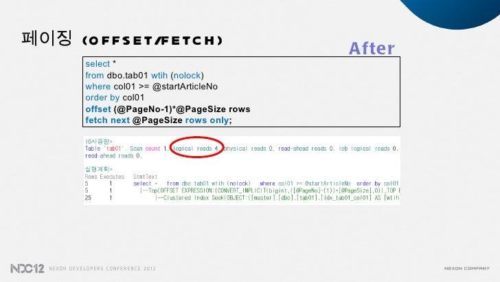 페이징 (O F F S E T/F E TC H )                                            A fte r        select *        from dbo.tab01 wtih ...