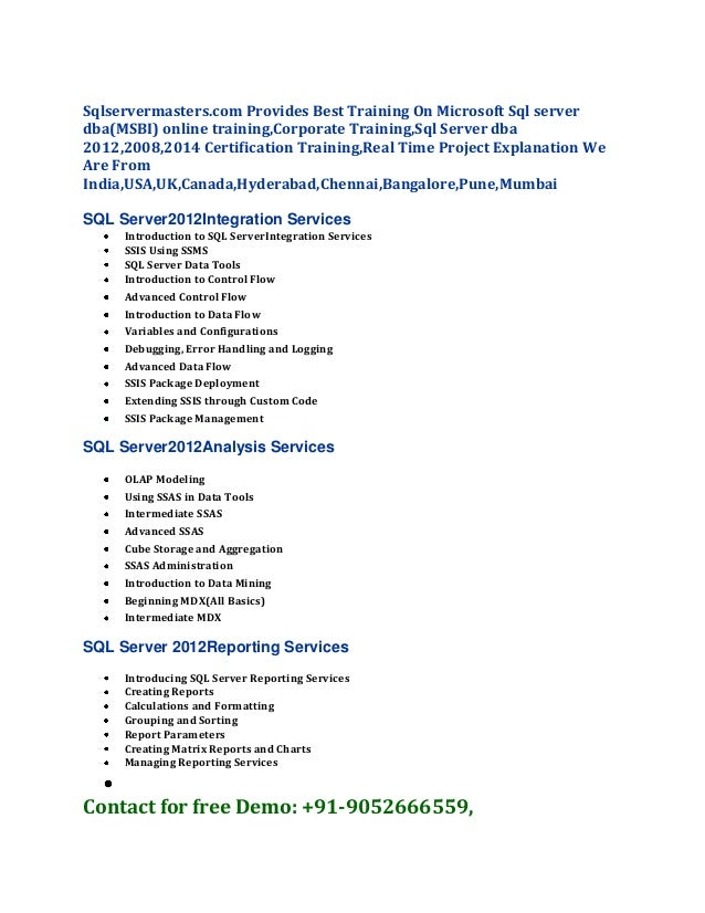 Sqlservermasters.com Provides Best Training On Microsoft Sql server dba(MSBI) online training,Corporate Training,Sql Serve...