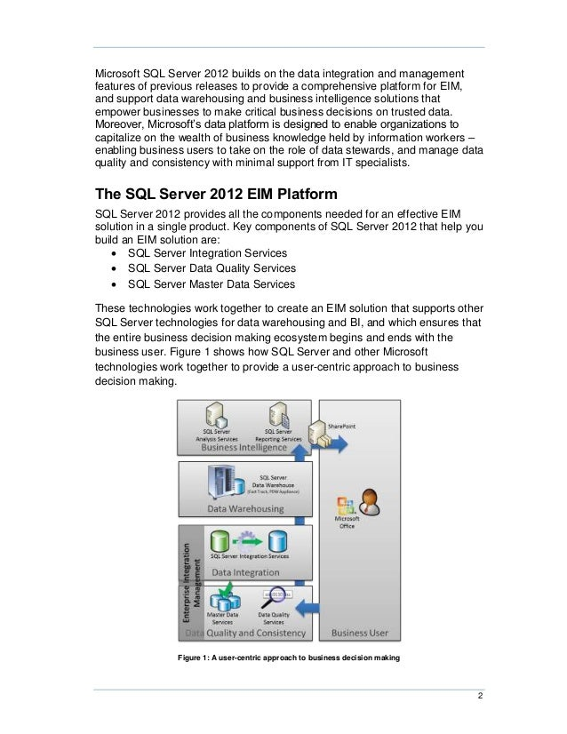Microsoft SQL Server 2012 builds on the data integration and managementfeatures of previous releases to provide a comprehe...