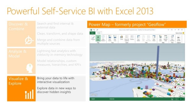 Map Data • Data in Excel • Geo-Code • 3D and 3 Visuals Discover Insights • Play over Time • Annotate points • Capture scen...