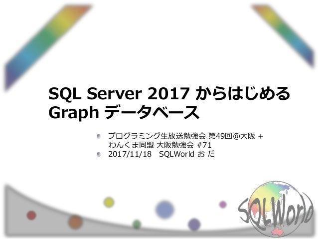 SQL Server 2017 からはじめる Graph データベース プログラミング生放送勉強会 第49回@大阪 + わんくま同盟 大阪勉強会 #71 2017/11/18 SQLWorld お だ