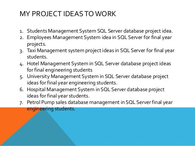SQL Server database project ideas - Top, latest and best