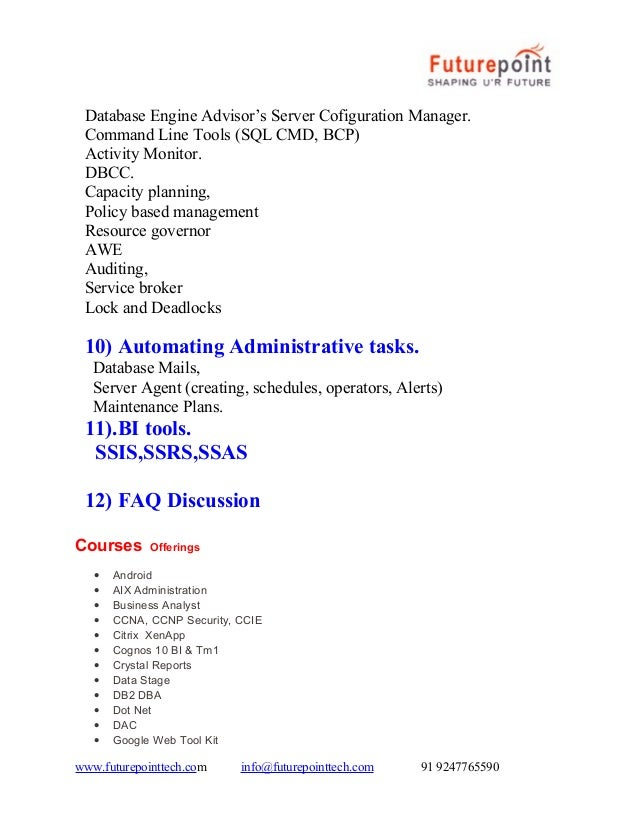 Sql Server Dba 2012 Administration Training