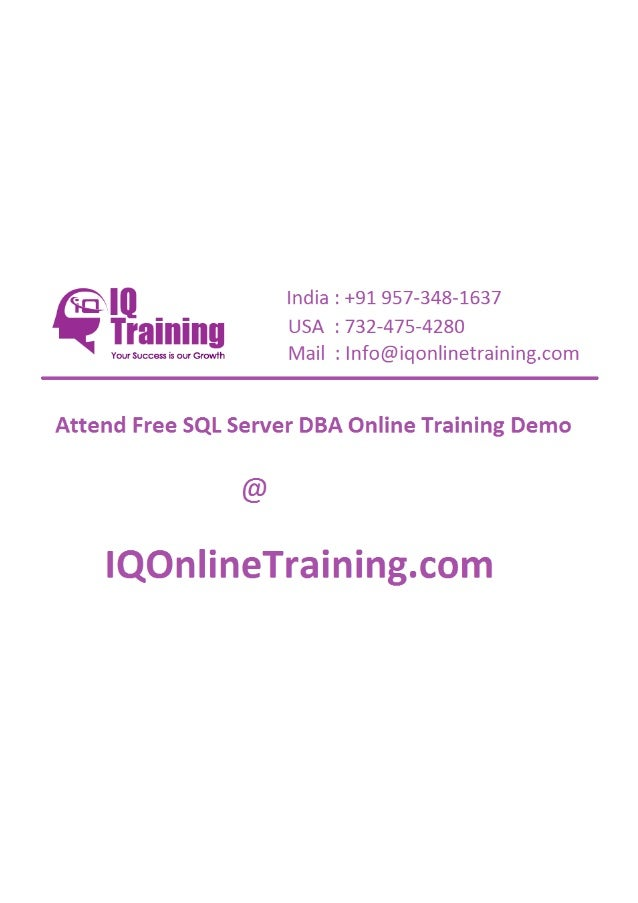 Sql server dba online training in hyderabad india usa uk singapore australia