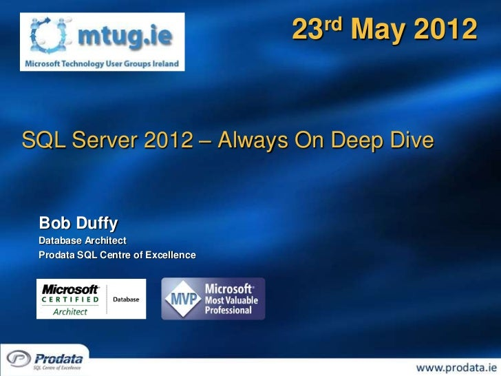 23rd May 2012SQL Server 2012 – Always On Deep Dive Bob Duffy Database Architect Prodata SQL Centre of Excellence