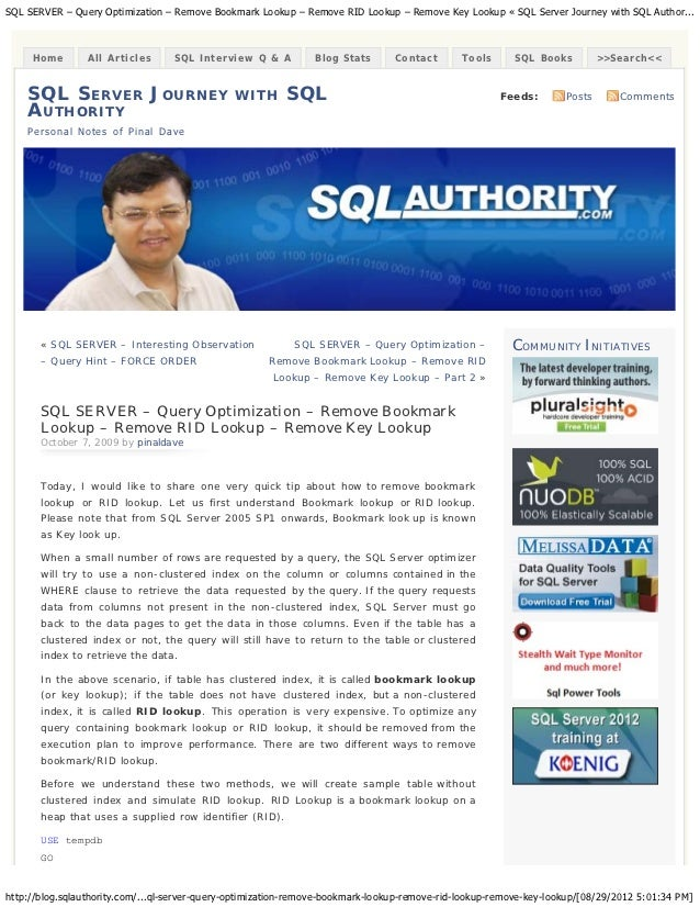 SQL SERVER – Query Optimization – Remove Bookmark Lookup – Remove RID Lookup – Remove Key Lookup « SQL Server Journey with...
