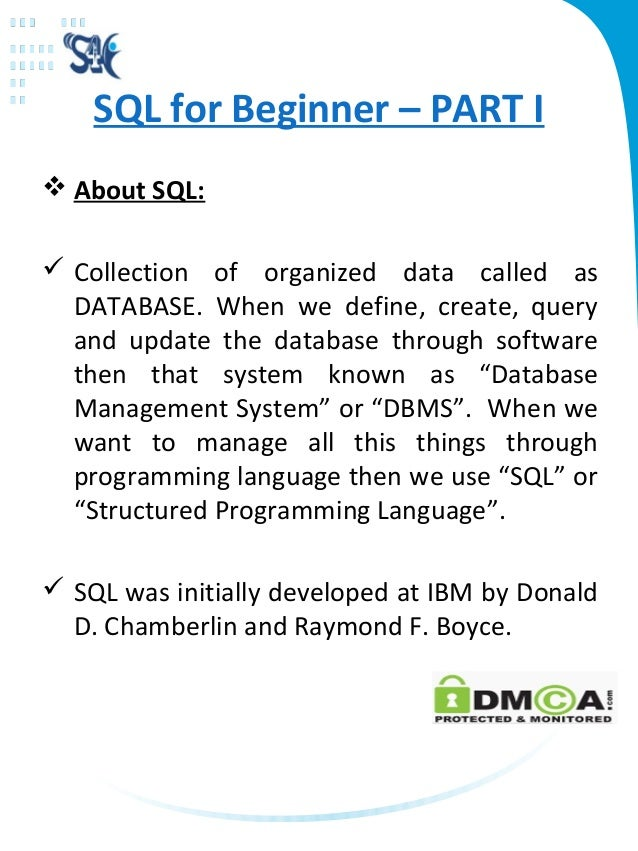 sql help command Over 30 million people have come to us to learn sql find out how to use sql to work with data in a relational database today.