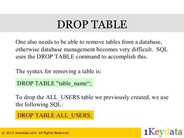 DROP TABLE ...  sc 1 st  SlideShare & SQL Tutorial - How To Create Drop and Truncate Table
