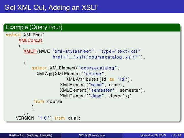 SQL/XML on Oracle