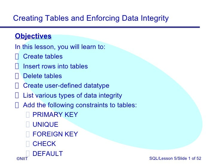 Creating Tables and Enforcing Data IntegrityObjectivesIn this lesson, you will learn to: Create tables Insert rows into ta...