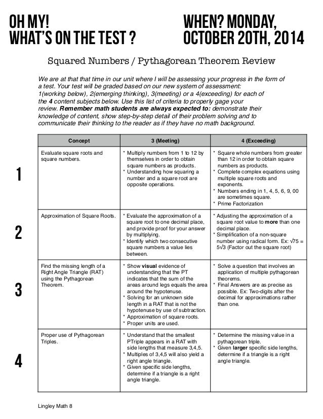 Square Number / Pythagorean Theorem TEST Review