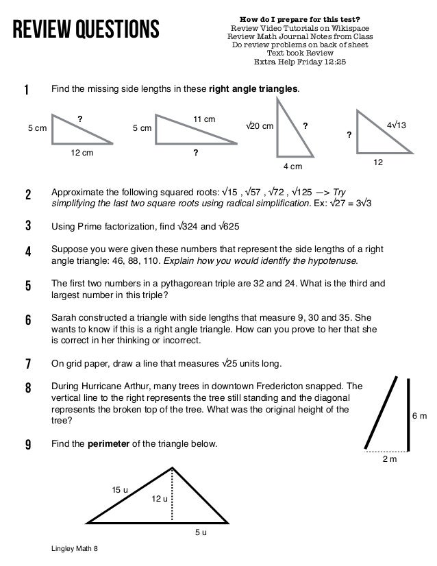 square number pythagorean theorem test review. Black Bedroom Furniture Sets. Home Design Ideas