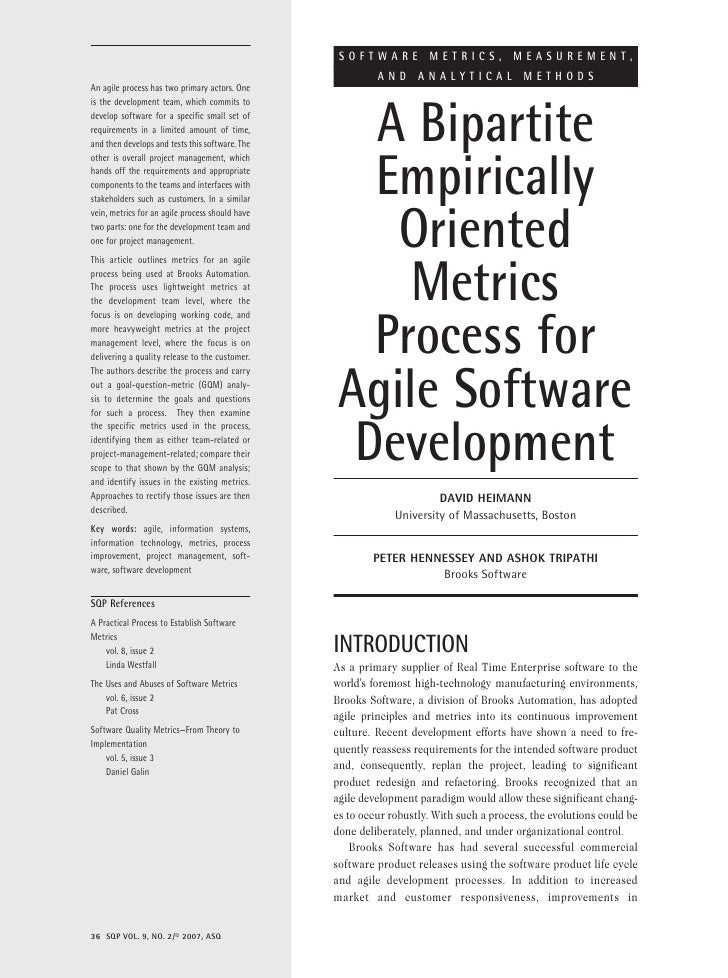 SOFTWARE METRICS, MEASUREMENT,                                                           AND ANALYTICAL METHODS An agile p...