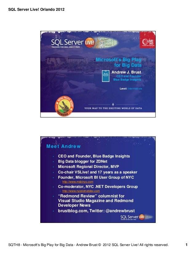 SQL Server Live! Orlando 2012                                                           Microsofts Big Play               ...