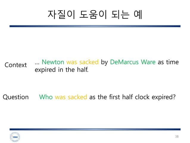 자질이 도움이 되는 예 38 … Newton was sacked by DeMarcus Ware as time expired in the half. Who was sacked as the first half clock e...