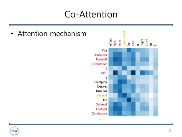 Co-Attention • Attention mechanism 46 …