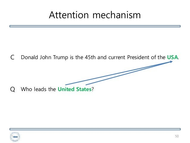 Attention mechanism 50 Donald John Trump is the 45th and current President of the USA. Who leads the United States?Q C