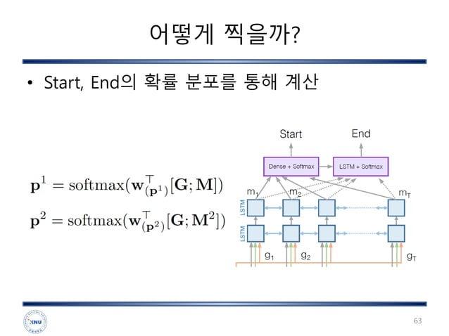 어떻게 찍을까? • Start, End의 확률 분포를 통해 계산 63