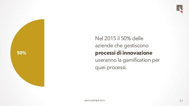 23  50% 50%  Nel 2015 il 50% delle  aziende che gestiscono  processi di innovazione  useranno la gamification per  quei pr...