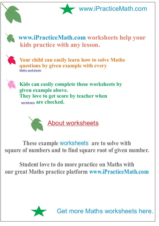 Ipracticemath Worksheets The square root calculator is used to find the square root of the number you enter. ipracticemath worksheets