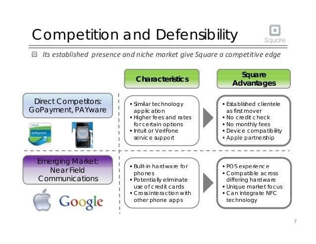 Competition and Defensibility ItsestablishedpresenceandnichemarketgiveSquareacompetitiveedge Square  Establish...