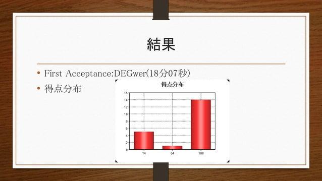 結果 • First Acceptance:DEGwer(18分07秒) • 得点分布