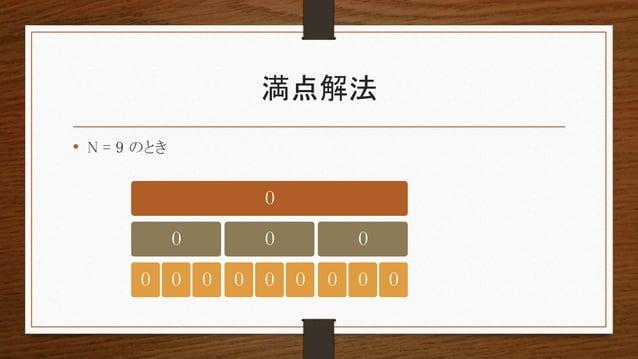 満点解法 • N = 9 のとき 0 0 0 0 0 0 0 0 0 0 0 0 0