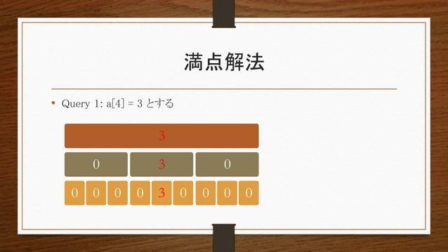 満点解法 • Query 1: a[4] = 3 とする 3 0 0 0 0 3 0 3 0 0 0 0 0