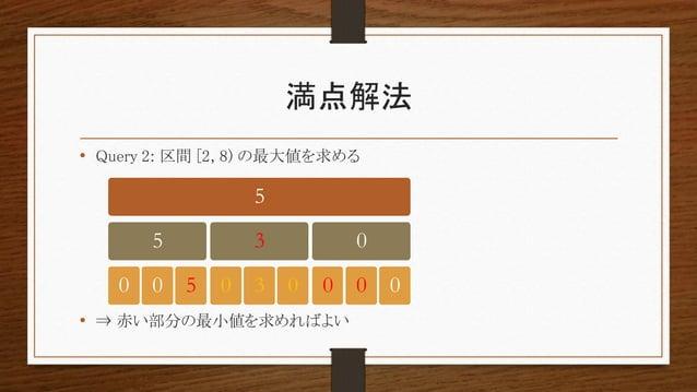 満点解法 • Query 2: 区間 [2, 8) の最大値を求める • ⇒ 赤い部分の最小値を求めればよい 5 5 0 0 5 3 0 3 0 0 0 0 0