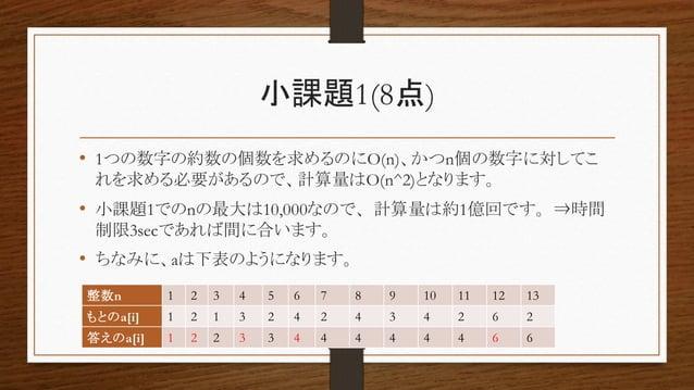 小課題1(8点) • 1つの数字の約数の個数を求めるのにO(n)、かつn個の数字に対してこ れを求める必要があるので、計算量はO(n^2)となります。 • 小課題1でのnの最大は10,000なので、計算量は約1億回です。⇒時間 制限3secであ...