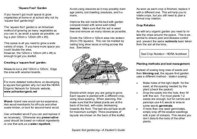 Square Foot Gardening Teacher Guide Organic Gardening