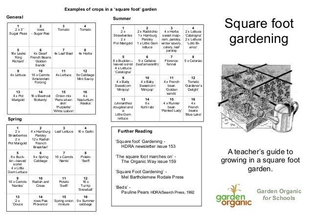 Square Foot Gardening ~ Teacher Guide, Organic Gardening