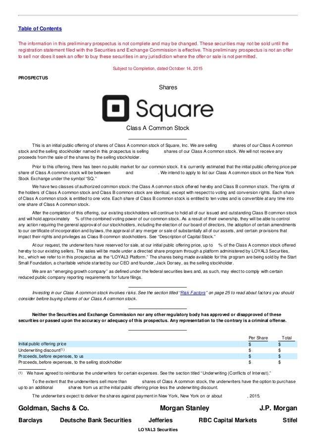 Square, Inc SEC Form S-1 - IPO Filing