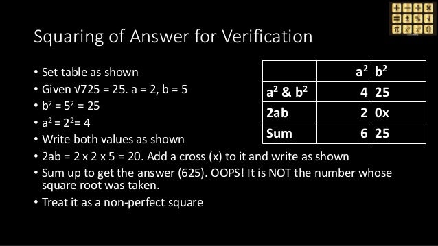 Squaring of Answer for Verification • Set table as shown • Given √725 = 25. a = 2, b = 5 • b2 = 52 = 25 • a2 = 22= 4 • Wri...