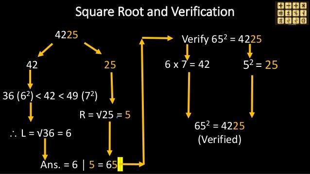 4225 42 25 36 (62)< 42 < 49 (72)  L = √36 = 6 R = √25 = 5 Ans. = 6 │ 5 = 65 Verify 652 = 4225 6 x 7 = 42 52 = 25 652 = 42...