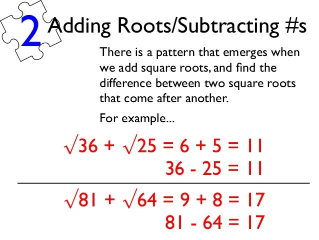 Number Names Worksheets 187 Subtracting Roots Free