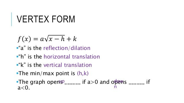 Square Root Function Transformation Notes