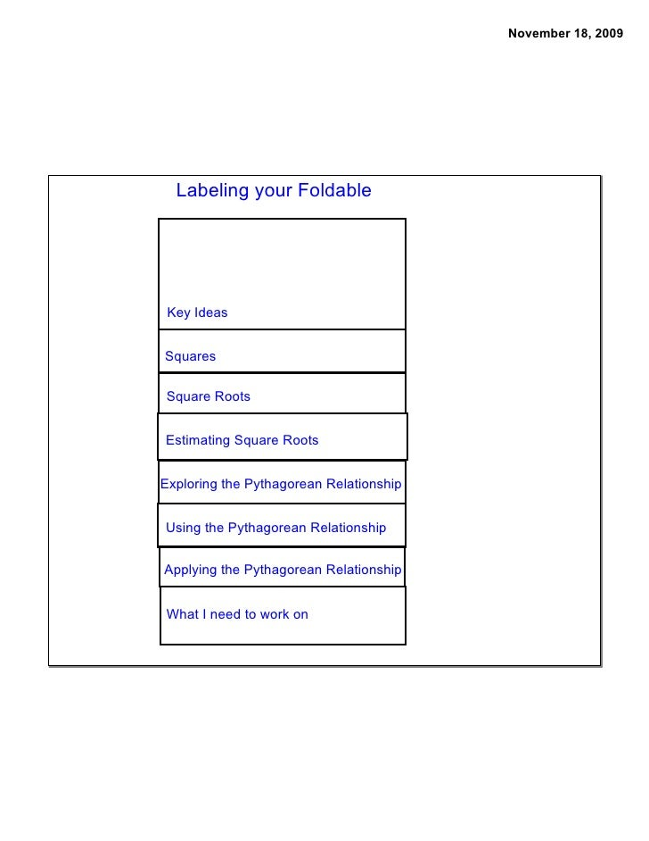 November 18, 2009       Labeling your Foldable      Key Ideas   Squares  Square Roots   Estimating Square Roots   Explorin...