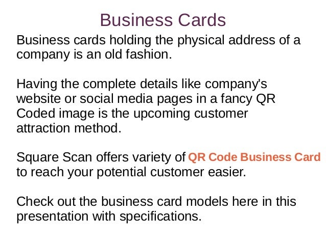 Square scans variety of business cards business cardsbusiness reheart Image collections