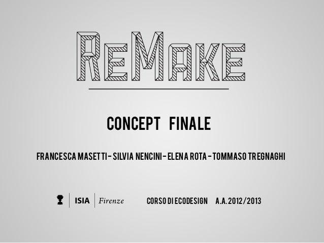 FRANCESCA MASETTI-SILVIA NENCINI-ELENA ROTA-TOMMASO TREGNAGHI CORSO DI ECODESIGN A.A.2012/2013 CONCEPT FINALE