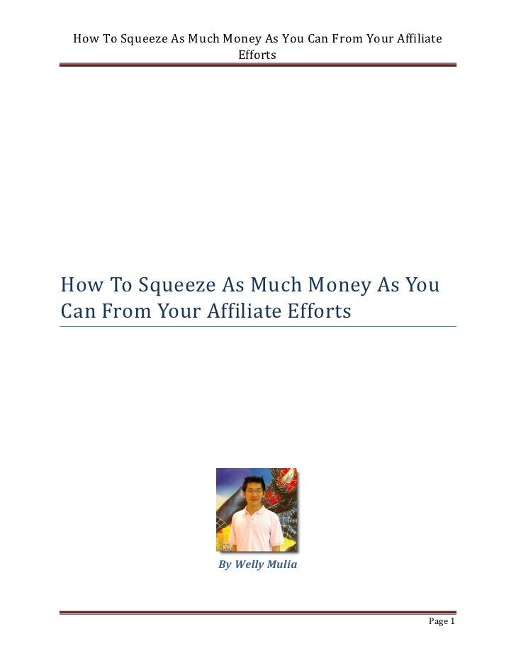 How To Squeeze As Much Money As You Can From Your Affiliate                          EffortsHow To Squeeze As Much Money A...