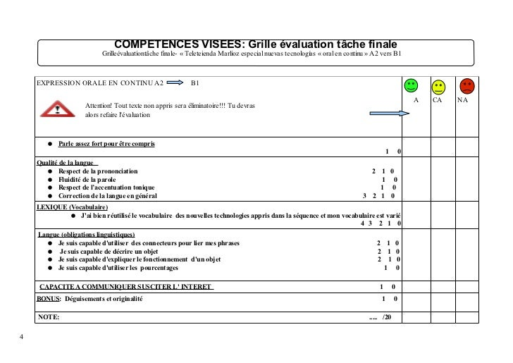 S quence mutualisation nuevas tecnologias laurence 2nde lvii - Grille evaluation expression ecrite anglais ...