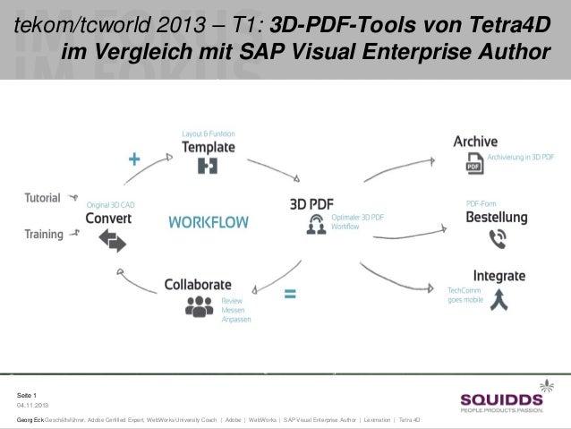 tekom/tcworld 2013 – T1: 3D-PDF-Tools von Tetra4D im Vergleich mit SAP Visual Enterprise Author  Seite 1 04.11.2013 Georg ...