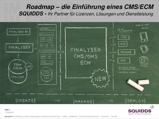 Roadmap – die Einführung eines CMS/ECM                  SQUIDDS - Ihr Partner für Lizenzen, Lösungen und DienstleistungSei...