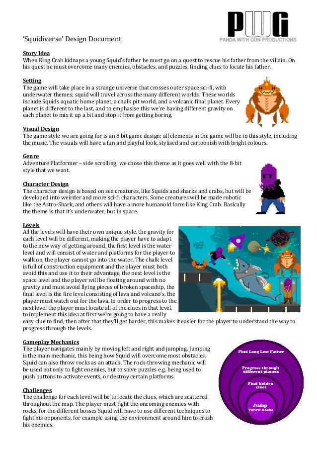 'Squidiverse'  Design  Document      Story  Idea   When  King  Crab  kidnaps  a  young  Squid's  ...