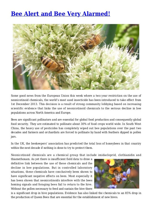 Bee Alert and Bee Very Alarmed! Some good news from the European Union this week where a two year restriction on the use o...