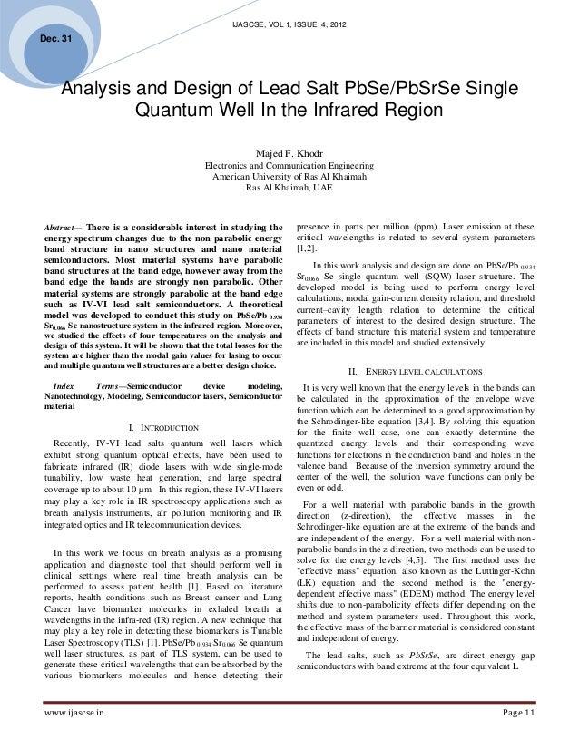 IJASCSE, VOL 1, ISSUE 4, 2012Dec. 31      Analysis and Design of Lead Salt PbSe/PbSrSe Single              Quantum Well I...