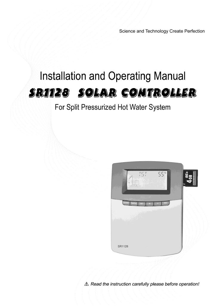 Operating manual of Controller SR1128For split pressurized solar hot water system