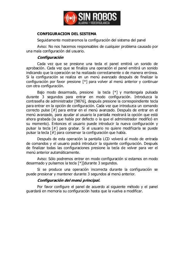 CONFIGURACION DEL SISTEMA      Seguidamente mostraremos la configuración del sistema del panel     Aviso: No nos hacemos r...